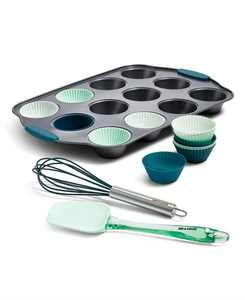 15-Pc. Cupcake Pan, Silicone Liners & Tools Set