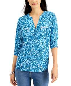 INC Printed Zip-Detail Top, Created for Macy's