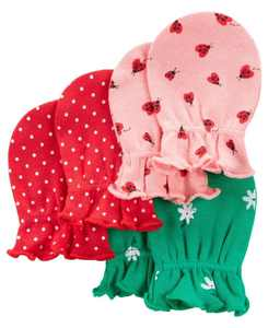 Baby Girl Mittens, Pack of 3