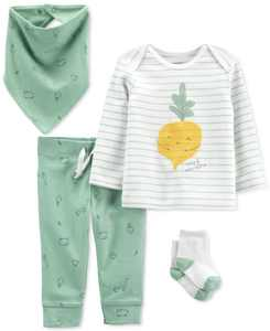 Baby Boys or Girls 4-Pc. Veggie Outfit Set