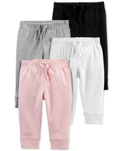 Baby Girls 4-Pk. Cotton Pull-On Pants