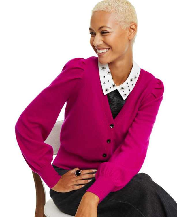 Petite Cashmere Balloon-Sleeve Cardigan, Created For Macy's