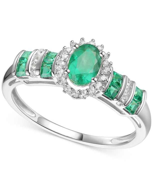 Emerald (3/4 ct. t.w.) & Diamond (1/8 ct. t.w.) Ring (Also in Ruby & Sapphire)