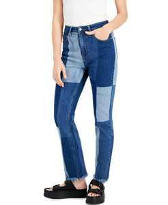 Juniors' Patchwork Straight-Leg Jeans