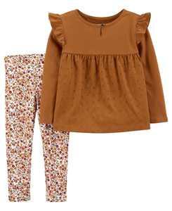 2-Piece Eyelet Jersey Top & Floral Leggings