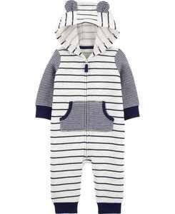 Striped Fleece Jumpsuit