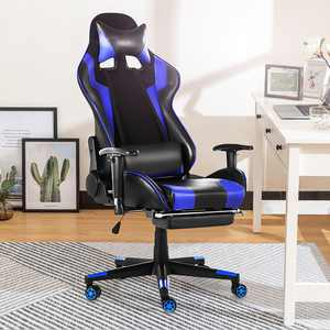 Kadell Gaming Chair High-Back Office Chair Racing Style Lumbar Support & Headrest, Blue
