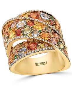 EFFY Multi-Gemstone (5-3/4 ct. t.w.) & Diamond (1/3 ct. t.w.) Crossover Wide Statement Ring in 14k Gold