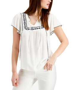 Plus Size Cotton Flutter Sleeve Top, Created for Macy's