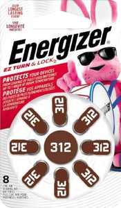 Energizer - 312 Alkaline Zinc-Air Batteries for Most Hearing Aids (8-Pack)