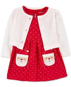 Baby Girls 2-Pc. Santa Bodysuit Dress & Cardigan Set