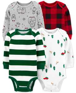 Baby Boys 4-Pack Long-Sleeve Printed Cotton Bodysuits