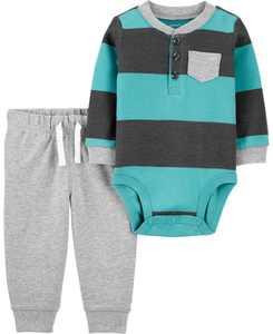 2-Piece Striped Henley Bodysuit Pant Set