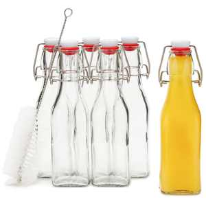6 Pack Swing Flip Top Glass Bottle with Cleaning Brush for Kitchen, Clear, 8 oz