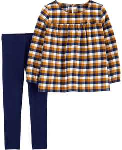 Toddler Girls Plaid Twill Top and Leggings, 2 Piece Set