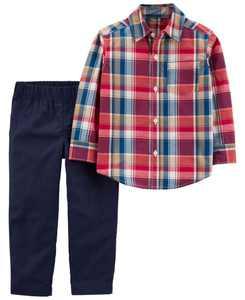 Toddler Boys Plaid Button-Front Shirt Pant, 2 Piece Set