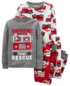 Toddler Boys Firetruck Snug Fit Cotton Pajama, 4 Piece Set