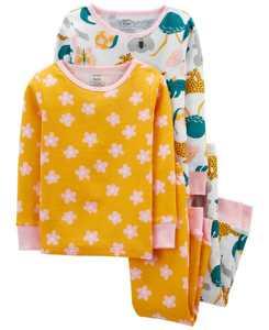 Toddler Girls Animals Snug Fit Cotton Pajama, 4 Piece Set