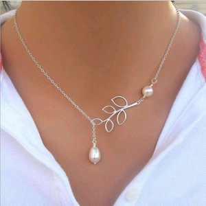 Pearl Droplet Thread Necklace 14K White Gold plated For Woman White Pearl