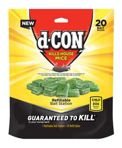 D-con Refillable Mouse Poison Bait Station, 20 Bait Refills