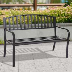 Costway 50'' Patio Garden Bench Park Yard Outdoor Furniture Steel Slats Porch Chair Seat