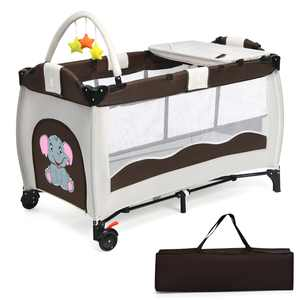 Costway Coffee Baby Crib Playpen Playard Pack Travel Infant Bassinet Bed Foldable