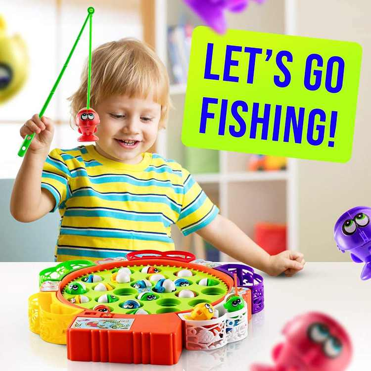 DOTSOG Fishing Game Toy Set with Single-Layer Rotating Board Gift for Toddlers and Kids