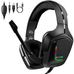 Gaming Headset with Mic for Xbox One, PS4, Switch and PC, Surround Sound Over-Ear Gaming Headphones with Noise Cancelling Mic, RGB Lights, Volume Control for Smart Phone, Laptops,Mac, iPad.