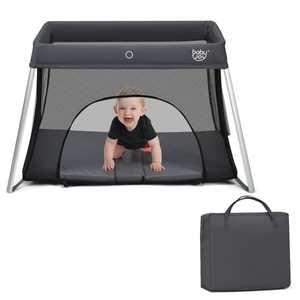 Gymax Foldable Baby Playpen Playard Lightweight Crib w/ Carry Bag For Infant Dark Gray