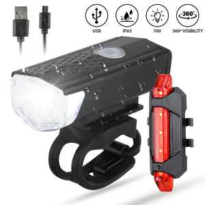 TSV USB Rechargeable Bike Headlight and Taillight Set, Ultra Bright Bike Lights, Waterproof LED Bicycle Front and Back Lights, Quick Release Safety Lamp Cycling Accessories for Road/Mountain Bikes
