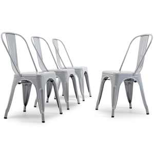 Belleze Set of 4, Indoor Outdoor Kitchen Bar Chairs Dining Chair, Gray
