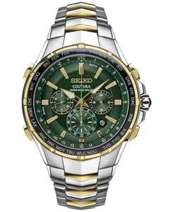Men's Chronograph Solar Coutura Radio Sync Two-Tone Stainless Steel Bracelet Watch 45mm