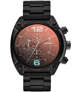 Unisex Chronograph Iridescent Crystal Overflow Black Ion-Plated Stainless Steel Bracelet Watch 54x49mm DZ4316