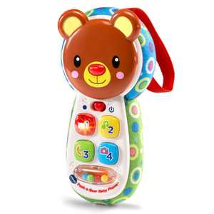 VTech Peek a Bear Baby Phone, Toy Phone with Lights and Music for Baby