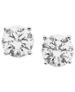 Certified Colorless Diamond Stud Earrings in 18k White Gold