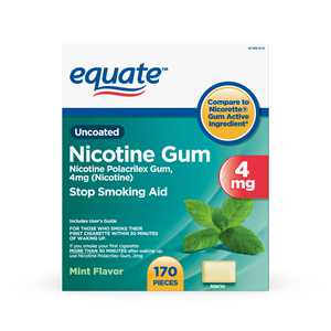 Equate Mint Flavor Uncoated Nicotine Gum, 4 mg, 170 Count