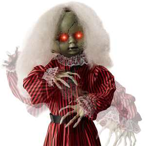 Best Choice Products Animatronic Roaming Doll Halloween Decoration, Haunted Holly Motion Activated Prop w/ Light-Up Eyes