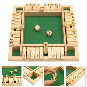 Traditional Wooden Board Game Set 10 Numbers Pub Bar Game Family Dice Game Kids and Adults For Shut The Box 8.66 x 8.66 x 1.30 Inch