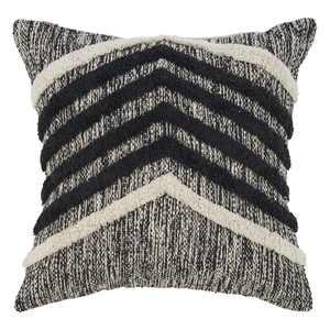 "LR Resources Home Chevron Stripe Gradient Black Natural Throw Pillow ( 18"" x 18"" )"