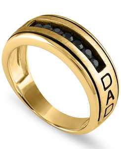 Men's Black Sapphire Engraved Dad Ring in Sterling Silver (3/4 ct. t.w.) or 14k Gold Over Silver