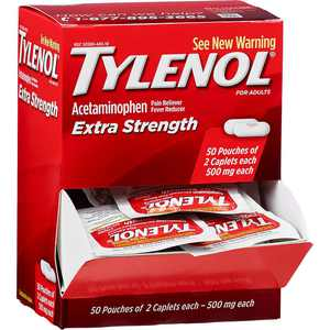 TYLENOL Extra Strength Pain Reliever & Fever Reducer Caplets, Two-Pack, 50 ea (Pack of 2)