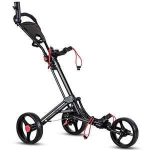 Costway Foldable 3 Wheel Steel Golf Pull Push Cart Trolley Club w/ Umbrella Holder