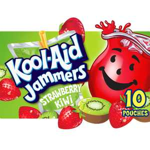 Kool-Aid Jammers Strawberry Kiwi Artificially Flavored Soft Drink, 10 ct Box, 6 fl oz Pouches