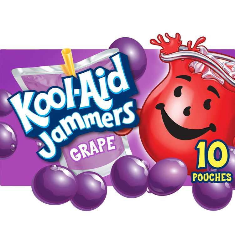 Kool-Aid Jammers Grape Artificially Flavored Soft Drink, 10 ct Box, 6 fl oz Pouches