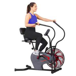 Body Rider BRF980 Stationary Upright Air Resistance Fan Bike with Curve-Crank Technology and Back Support