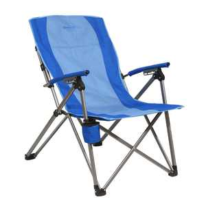 Kamp-Rite Covered Arm, 3 position Reclining Folding Camp Chair w/Cupholder, Blue