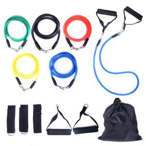 JAXPETY 11 Pieces Resistance Band Set Yoga Pilates Abs Exercise Fitness Tube Workout Bands