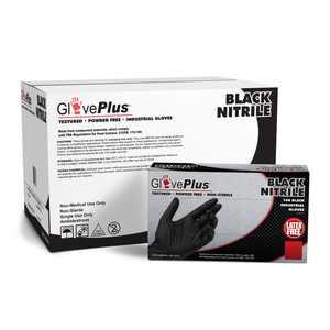 GlovePlus Nitrile Latex-Free Industrial Gloves, Large, Black, 1000/Case
