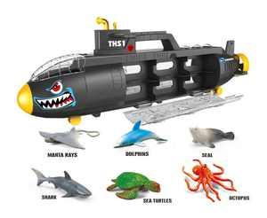 Submarine Toy Shark Car Carrier w 6 sea animals and storage