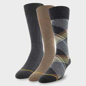 Signature Gold by GOLDTOE Men's Boho Plaid Crew Socks 3pk - Charcoal 6-12.5